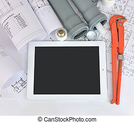 Plumbing tools on the construction drawings Repair and...