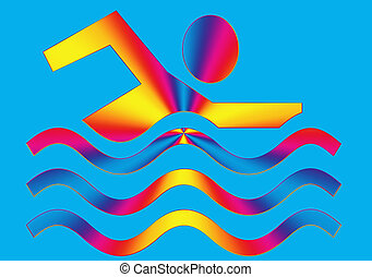 Swimming Permitted icon in vibrant eye catching colors on...