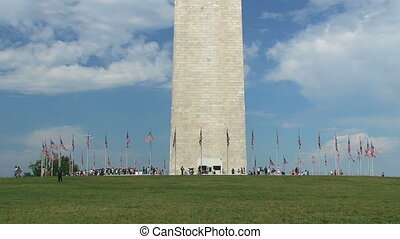 Washington Monument, time lapse - Tourists at Washington...