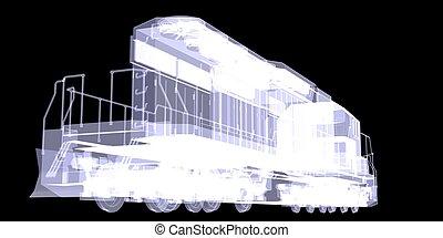 Lokomotiv X-ray isolated on the black background