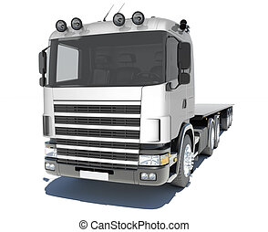 Truck with semitrailer platform. Isolated render on a white...
