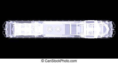 Lokomotiv. X-ray - Lokomotiv. Top view. X-ray isolated on...