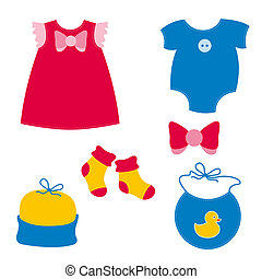 baby clothing - dress, play suit, socks, cap, bib, ribbon