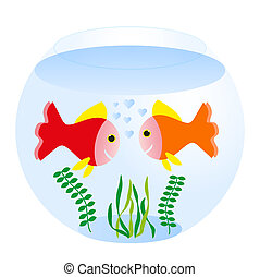 fishbowl - two loving fishes swim in round sea aquarimum