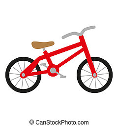 red bike with wheels, seat and handlebar