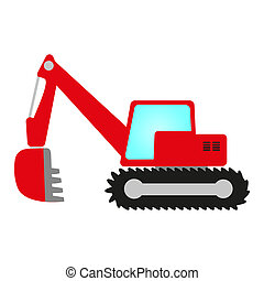 red excavator with shovel, cab and crawler undercarriage
