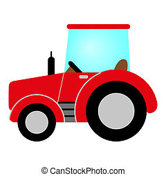 red tractor with cab, wheels and exhaust