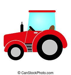 rosso, trattore