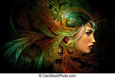 Lady with an elegant headdress, CG - 3D computer graphics of...