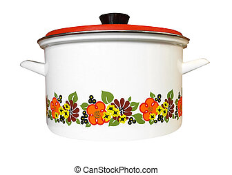 Enamel Pot isolated with clipping path