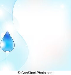 Abstract Vector Line And Blue Water Drop, Vector...