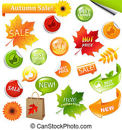 Autumn Collection Sale Elements, Vector Illustration
