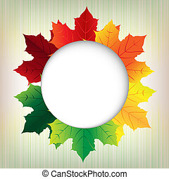 Autumn Leaves With Speech Bubble, Vector Illustration