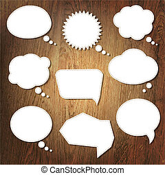 Abstract Speech Bubble On Wooden Background, Vector...