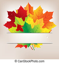 Autumn Composition From Leaves And Water Drops, Vector...