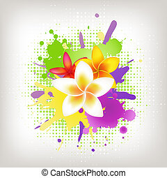 Background With Plumeria And Blots, Vector Illustration