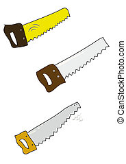 Set of colored handsaw on white.