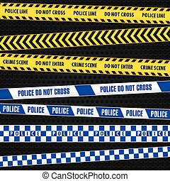 Police tape - A set of police crime scene tapes