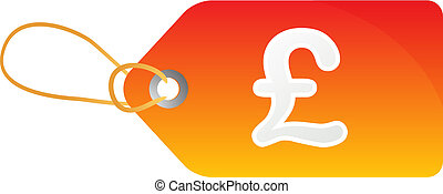 Pound sales tag - Sales tag label illustration with Pound...