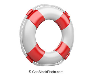 3d life buoy over white - 3d life buoy isolated on a white...