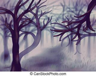Foggy Forest - Landscape illustration showing dark forest in...