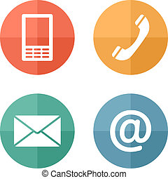 Contact icons buttons set - envelope, mobile, phone, mail