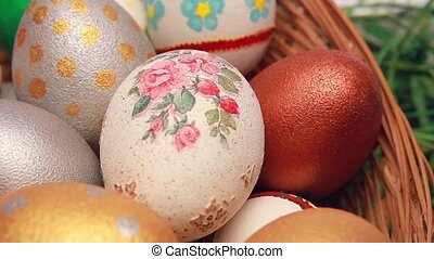 Easter eggs in a basket. Close up.