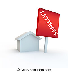 sign for lettings and rent - 3d render of a housing concept