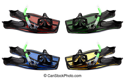 Set of multicolored flippers, mask and snorkel with water...