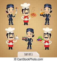 Chefs Cartoon Characters Set11 In the EPS file, each element...