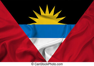 Waving Antigua and Barbuda Flag