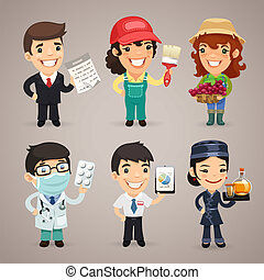 Professions Cartoon Characters Set14 In the EPS file, each...