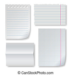 Note paper set with folded clear blank, squared and lined...