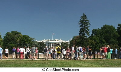 White House, time lapse - Crowds of visitors to the White...