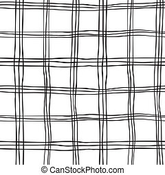 Seamless Abstract Scottish Plaid - Seamless Hand Drawn Black...