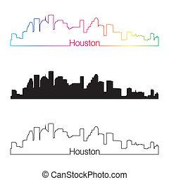 Houston skyline linear style with rainbow in editable vector...