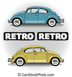 Concept retro cars - Concept retro car in two colors with...