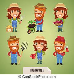 granjeros, caricatura, caracteres, Set1, 1