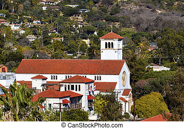 White Adobe Methodist Church Cross Santa Barbara alifornia -...