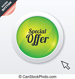 Special offer sign icon Sale symbol Green shiny button...