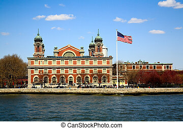 The main immigration building on Ellis Island in New York...