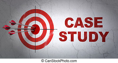 Education concept: target and Case Study on wall background...