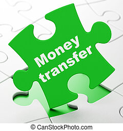 Business concept: Money Transfer on puzzle background