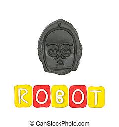 顏色, 機器人, 孩子, 背景, 代用粘土, 白色