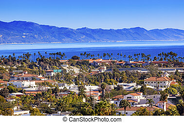 Buildings Coastline Pacific Ocean Santa Barbara California -...