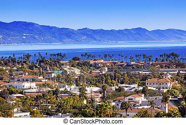 Buildings Coastline Pacific Ocean Santa Barbara California -...