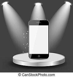Mobile Phone on Shelve Vector illustration