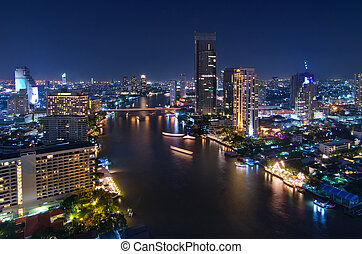 Bangkok night viwe - Bangkok cityscape Bangkok night viwe in...