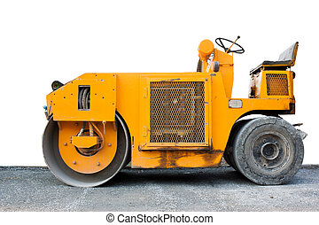 steamroller yellow - eamroller yellow and cement road with...