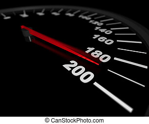 Speeding to the Limit - A speedometer showing a vehicles...